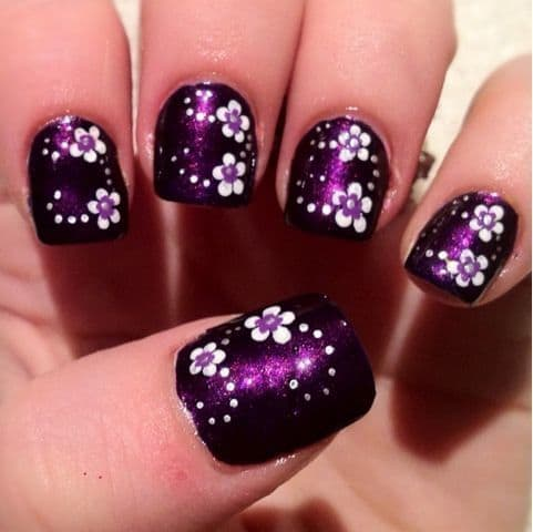 Purple Nail Designs with Flowery Path