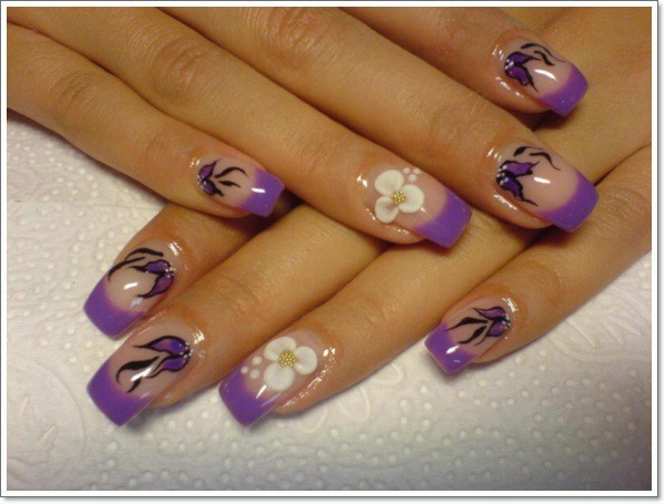 Flowery Effect Nail Designs