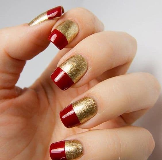 50 red nail designs to fall in love with naildesigncode gold red french tips red nail designs 01 prinsesfo Choice Image