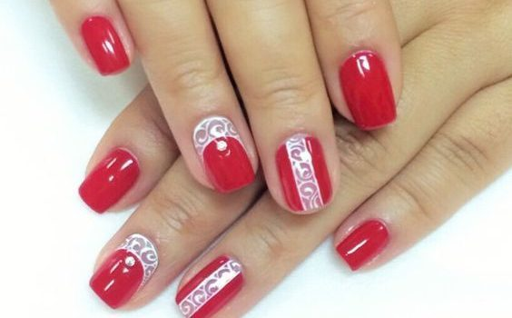 White Linings Red Nail Designs