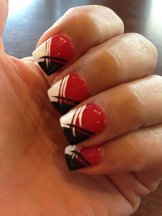 red,white and black nail designs