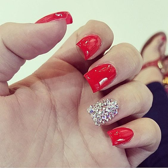 Flaming Red nail - 70 Red Nail Designs To Fall In Love With – NailDesignCode