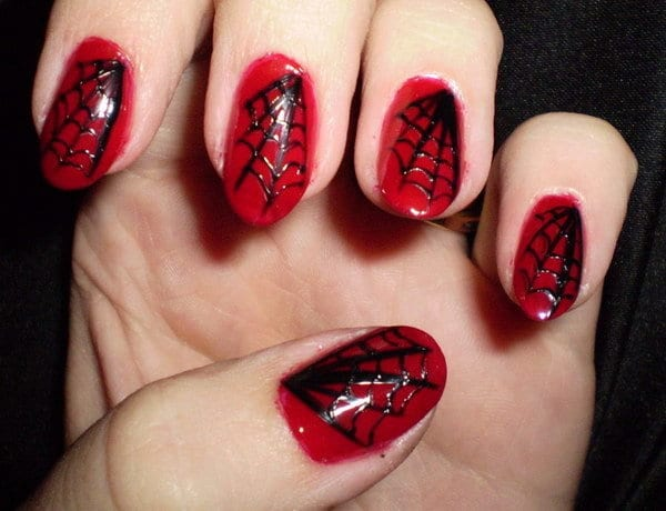 Red and Black nail designs 12