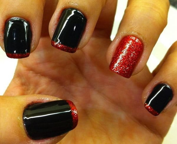 Black Nail Polish With Red Glitter
