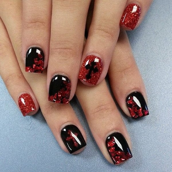 Red and Black nail designs 19