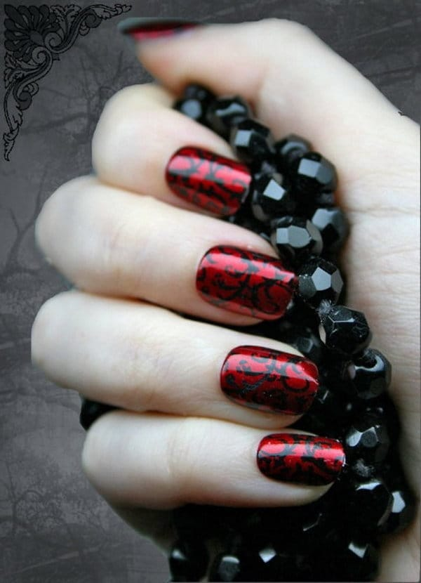 Red and Black nail designs 20