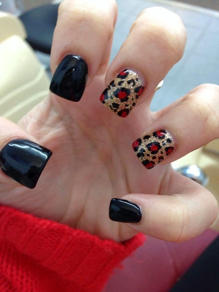 Red and Black nail designs 22