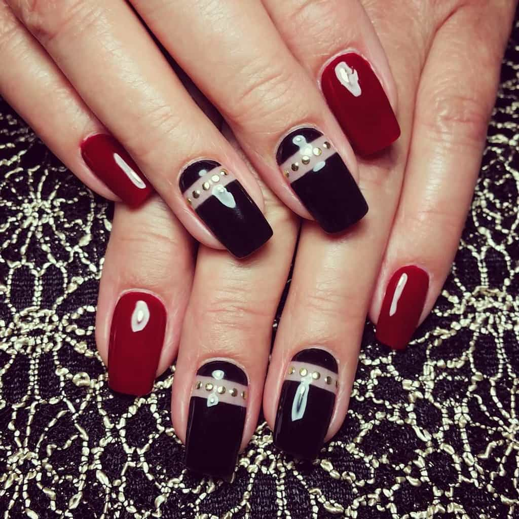 Red and Black nail designs 24