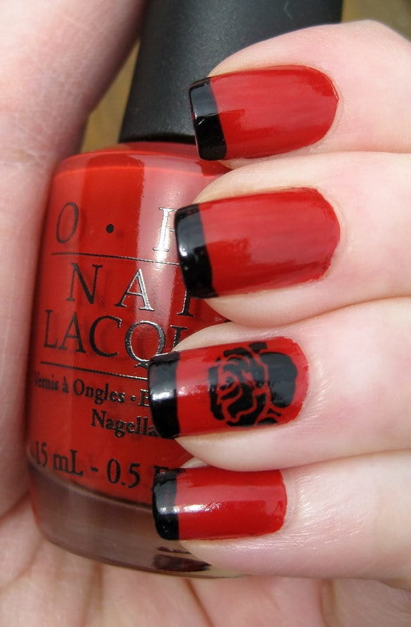 Red and Black nail designs 3