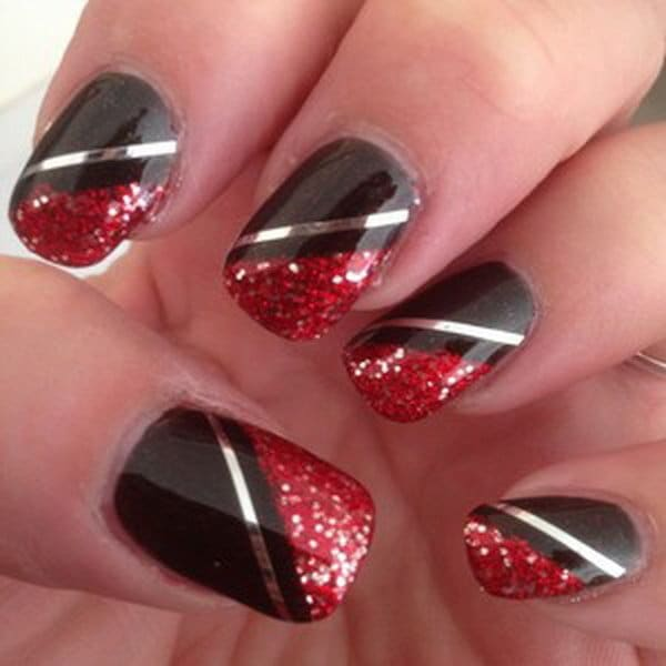 Red and Black nail designs 5