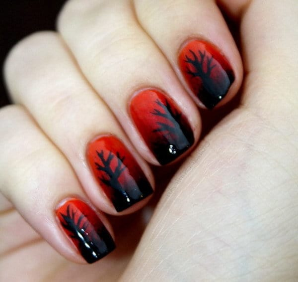 Red and Black nail designs 6