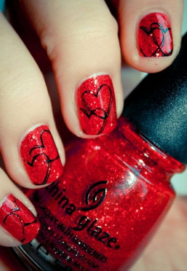 Red and Black nail designs 7
