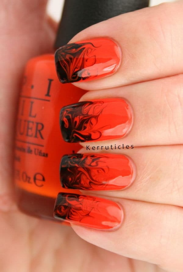 Red and Black nail designs 9