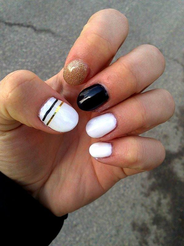 Cool White, Black, and Gold nail designs