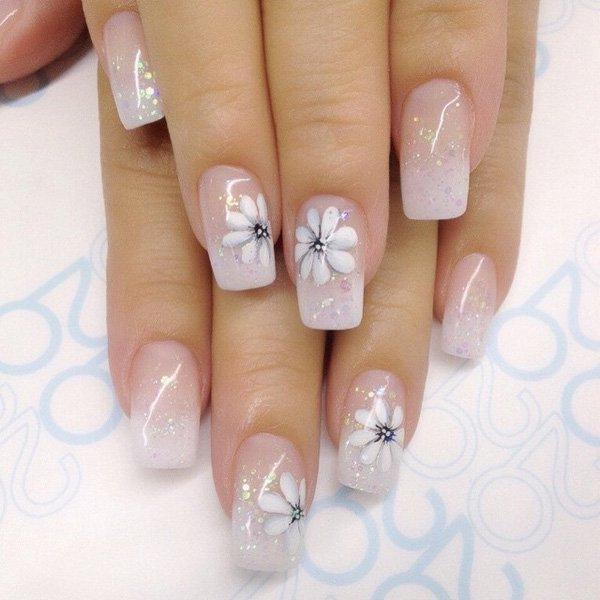 Floral Fog White nail designs for girl