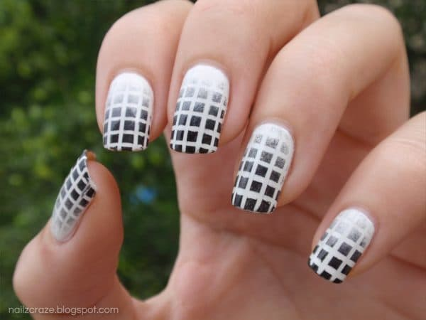 Fading Squares' Pattern white nail art for women