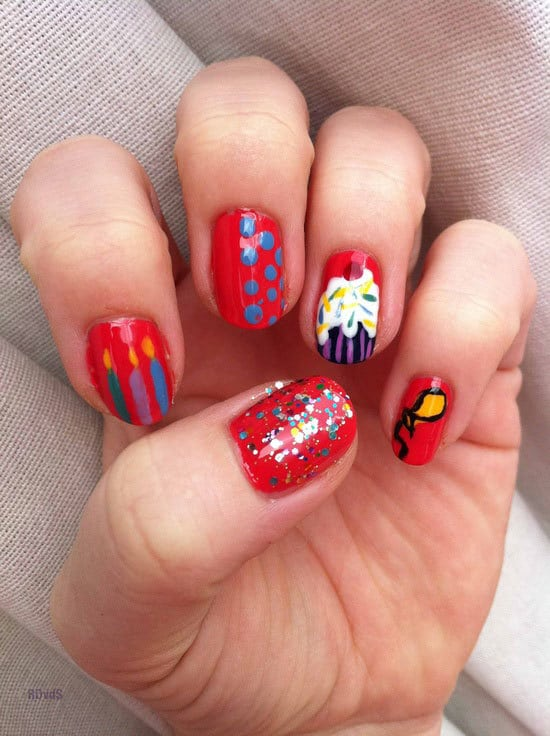 Red And Glitter Birthday Nail art for women