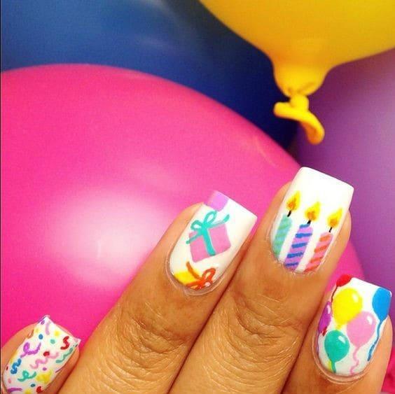 Nice Colourful Birthday Nails ideas