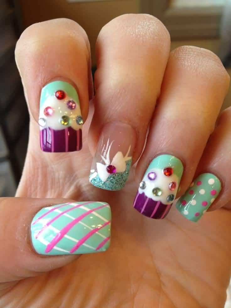 Mint Green with Purple Nail ideas