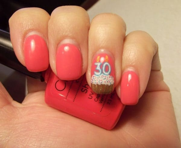 beautiful Coral Birthday Nail art for women