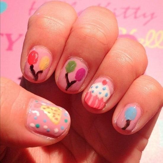 Balloons design birthday nail art for girl