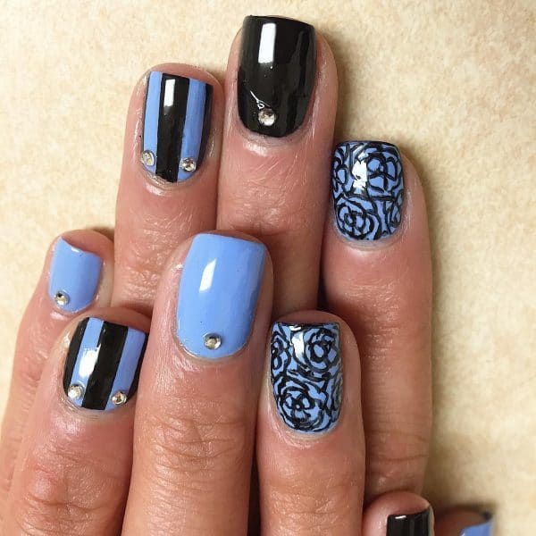 Corn Flower black plus Blue nail art for women