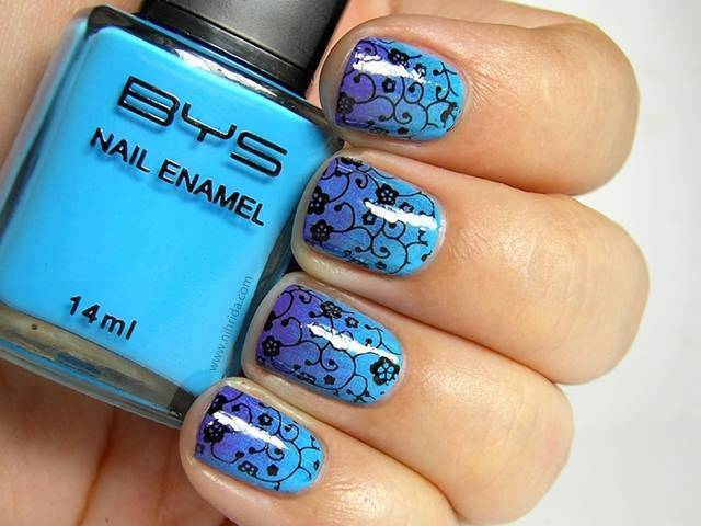black and blue nail design