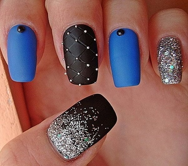 Gorgeous Black Plus Blue Nail Design for Parties - 10 Most Delightful Black And Blue Nail Designs – NailDesignCode