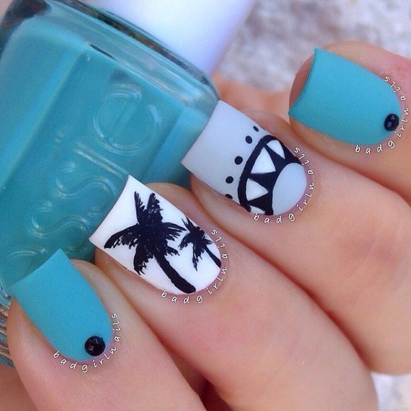 cool white and blue nail design for women