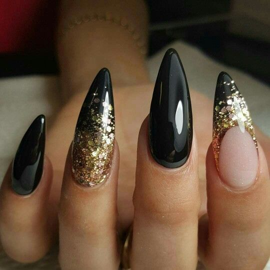 Fancy Nancy black and gold nail designs