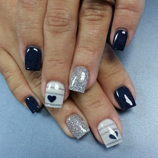 Silver Glittered Black Nail Polish design for girl - 12 Elegant Black & Silver Nail Designs In 2018 – NailDesignCode