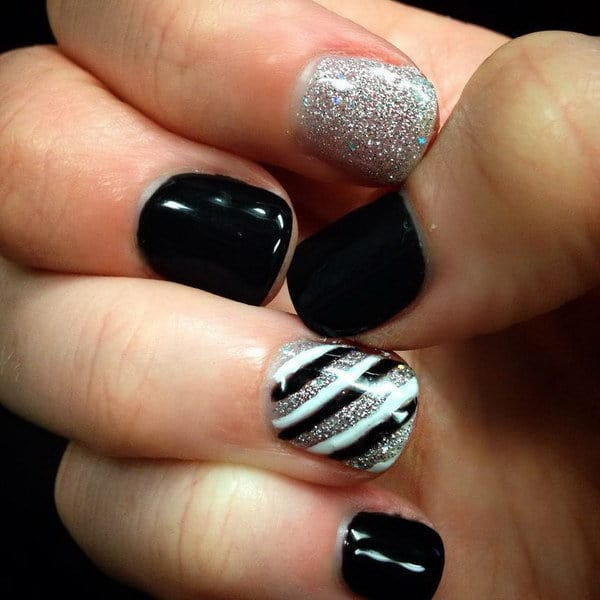 black and silver nail designs 10