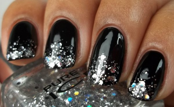 Silver Gradient Ombre with black nail art for women