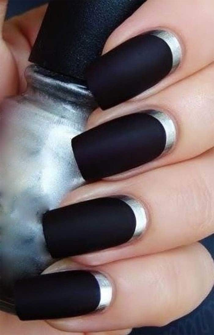 Metallic Silver Base nail idea for women