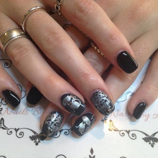 Black & Silver Nail Design idea for girl