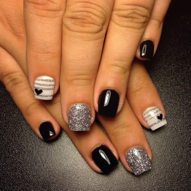 12 Elegant Black Silver Nail Designs In 2018 Naildesigncode
