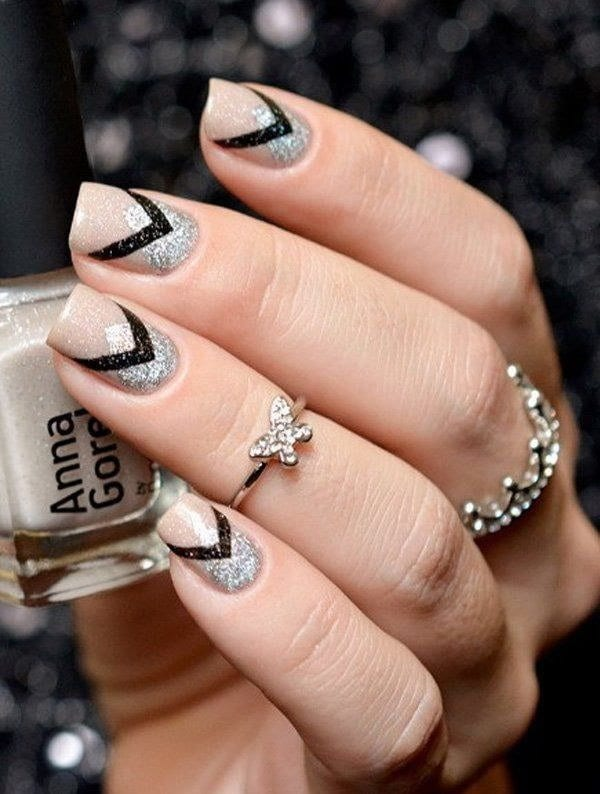 black and silver nail designs 8