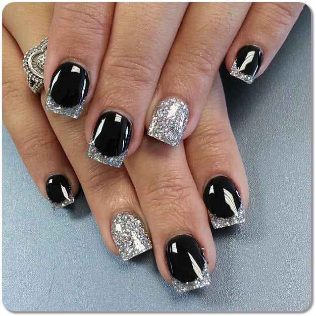 Silver tipped Black Nails idea for women