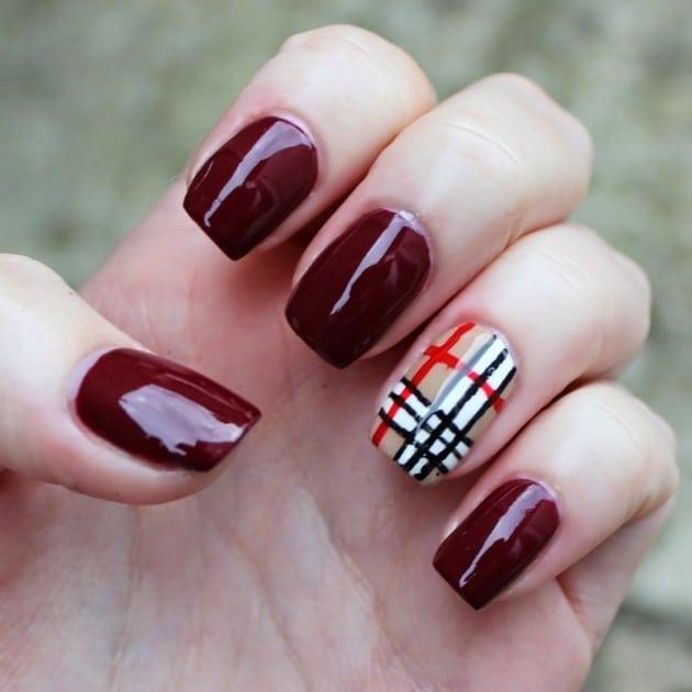 burgundy nail designs 12