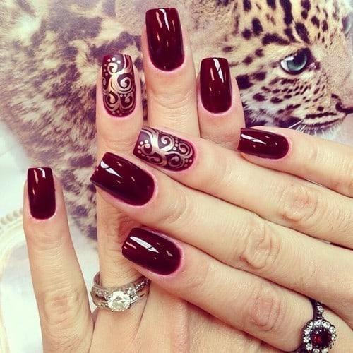 burgundy nail designs 14