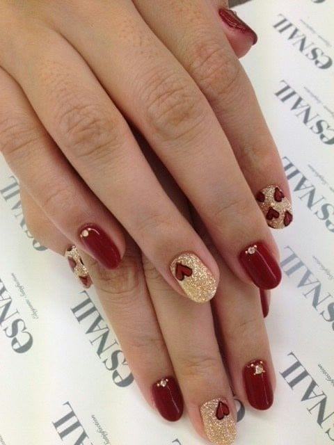 burgundy and gold nail designs