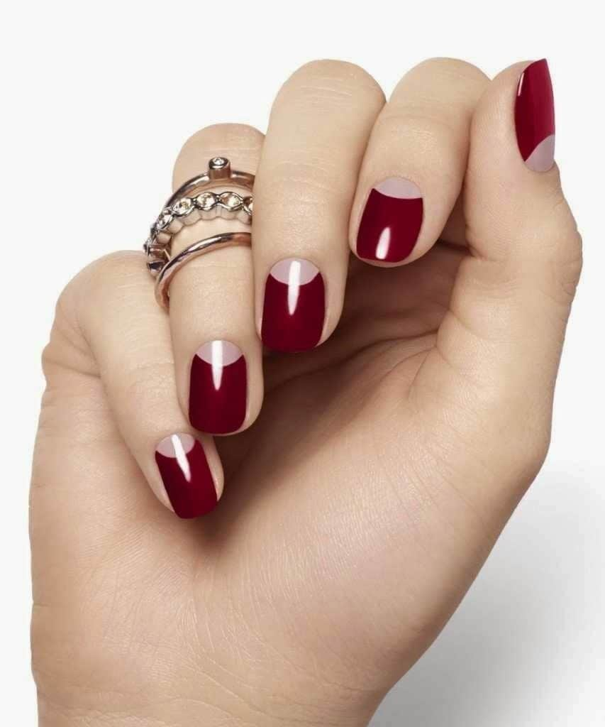 simple burgundy nail designs