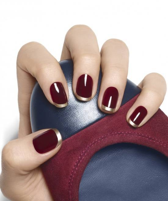 golden tip burgundy nail designs