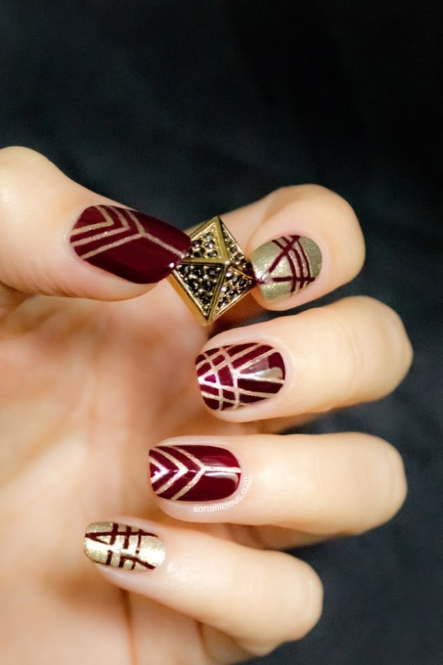 burgundy chevrons nail