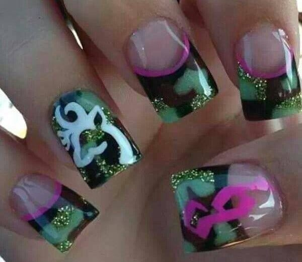 camo nail designs 8 - 10 Trendy Girly Camo Nail Designs For Every Girl - NailDesignCode