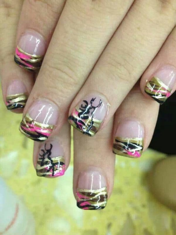 camo nail designs 9 - 10 Trendy Girly Camo Nail Designs For Every Girl - NailDesignCode