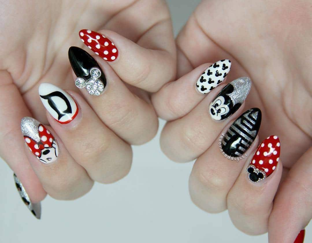 disney nail with black ,white, red