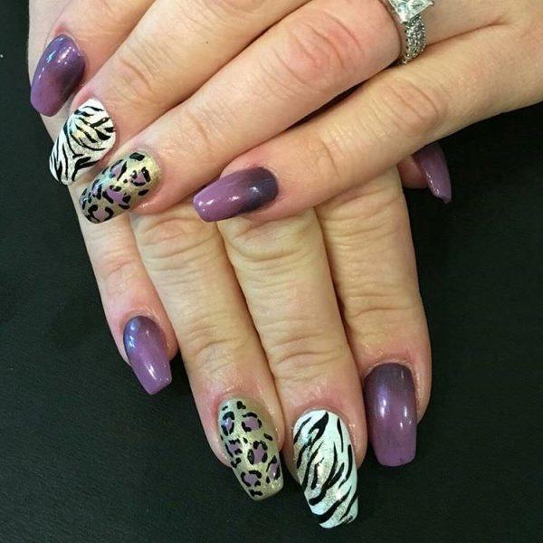 feather & zebra nail designs
