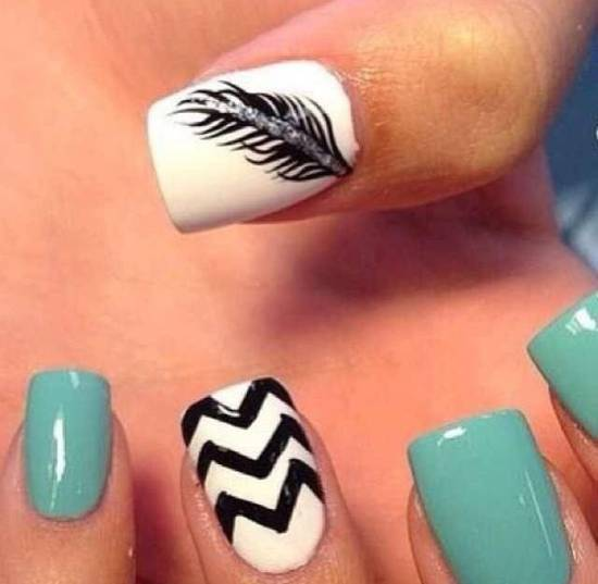 feather & zebra nail designs 14