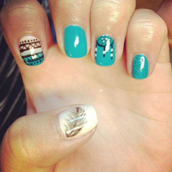 feather & zebra nail designs 18